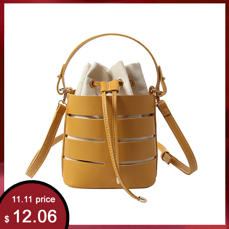 New Tide Solid Color Hollow PU Material Small Fairy Bag Portable Bucket Bag Casual Wild Single Shoulder Messenger Bag