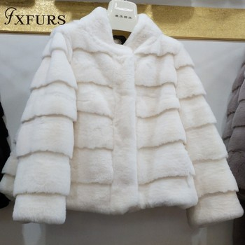 2019 Winter Women Rex Rabbit Fur Jackets Short Warm Fur Coats Girl Casual Genuine Full Pelt Overcoats New Luxury
