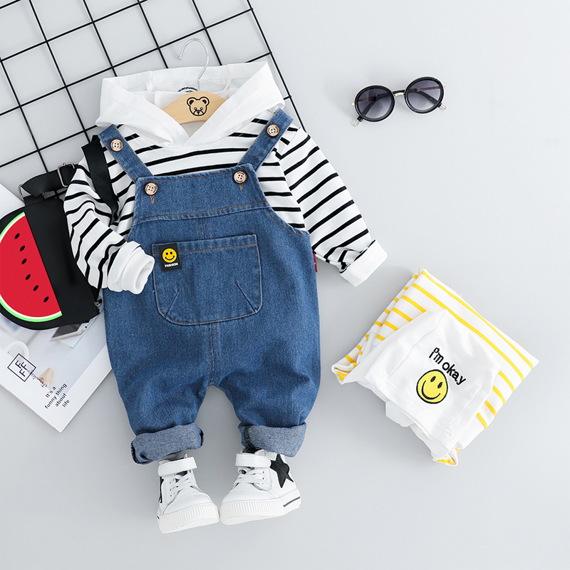 HYLKIDHUOSE 2019 Autumn Toddler Infant Clothing Sets Baby Boys Girls Clothes Suits Hooded T Shirt Bib Pants Children Costume