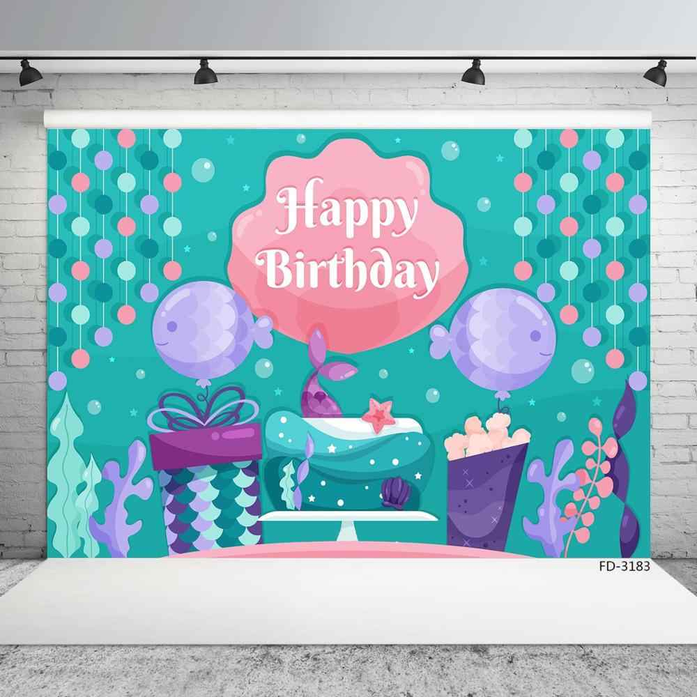 Undersea Mermaid Tail Gift Fish Photography Backgrounds Custom Backdrop for Children Baby Birthday Party Photobooth Photo Studio