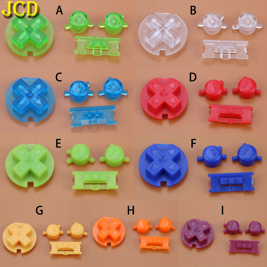 JCD 10 Set Colorful Buttons Set Replacement for <font><b>Gameboy</b></font> <font><b>Color</b></font> for GBC <font><b>Game</b></font> Console Power ON OFF Button Keypads A B D Pads Button image