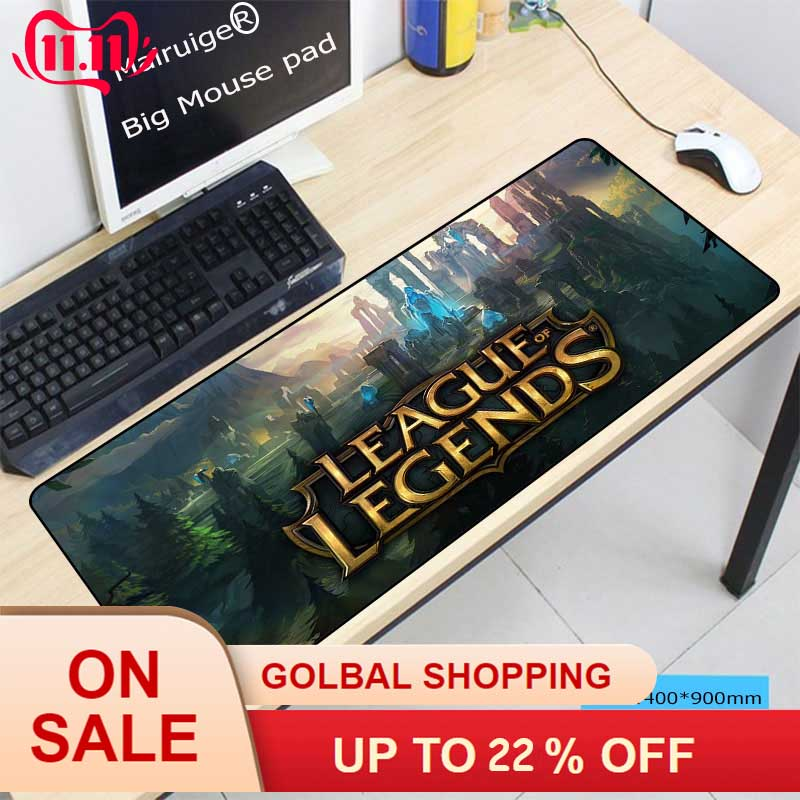 Mairuige 900x400mm Scenery Speed Large Gaming Mouse Pad Keyboard Lock Edge Gamer Mousepad Mat For League Of Legends LOLGamer