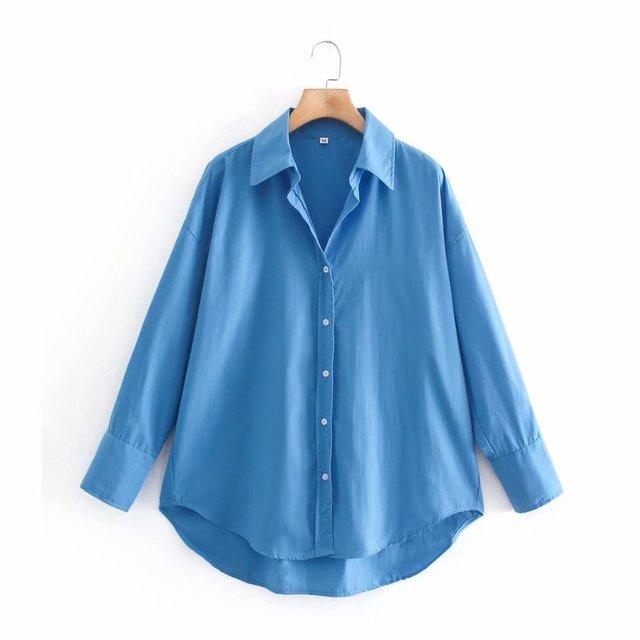 Camisa Manga Longa Feminina Zevity - Chemise Popeline 9114 5
