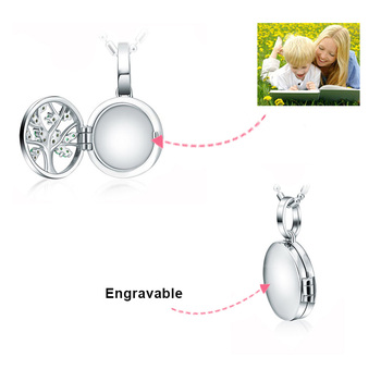 SG 925 Sterling Silver Engraved Family Tree Of Life Photo Locket Necklaces Custom Necklaces & Pendants for women Jewelry