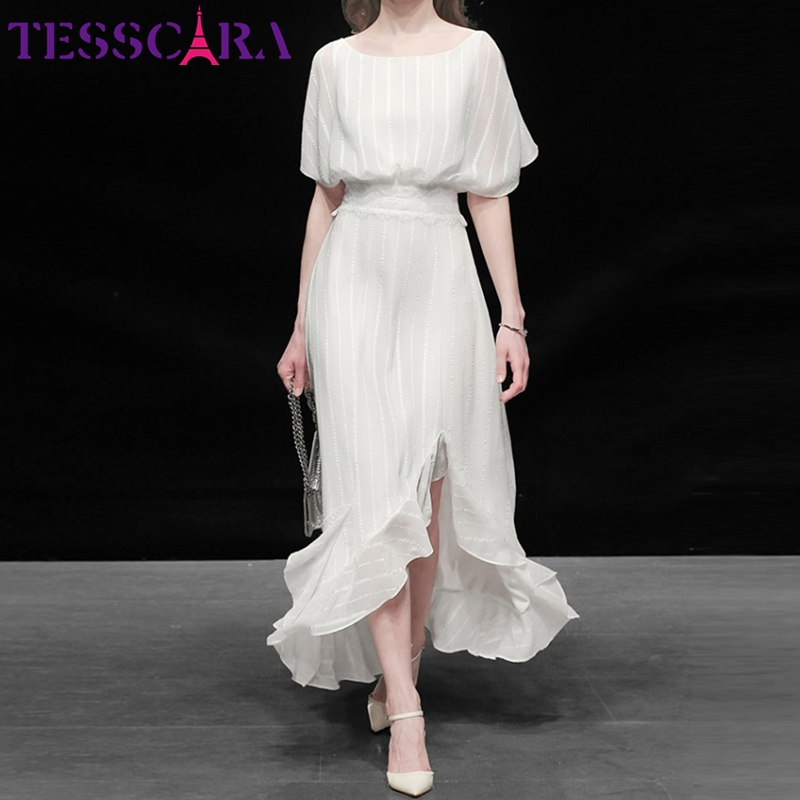 TESSCARA Women Elegant White Dress Festa High Quality Wedding Cocktail Party Robe Femme Asymmetrical Designer Chiffon Vestidos(China)