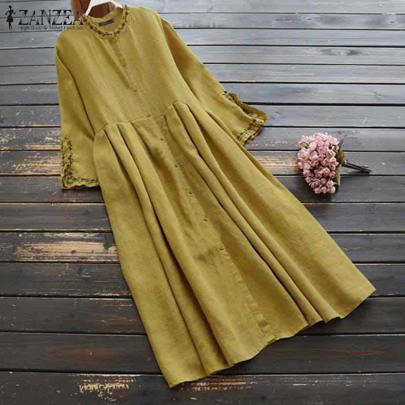 ZANZEA Women Embroidery Shirt Dresses Casual Long Pockets O Neck Buttons Front Vestidos Sundress Female Solid Robe Vestidos 5XL
