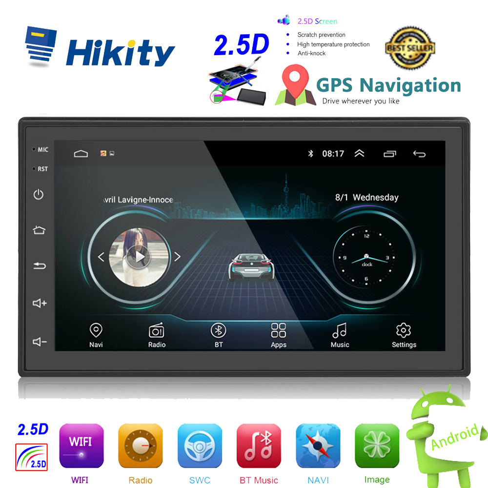 Hikity 2.5D Android 2din Car Multimedia MP5 Player Radio GPS Navi WIFI Autoradio 7'' Touch Screen Bluetooth FM Audio Car Stereo image