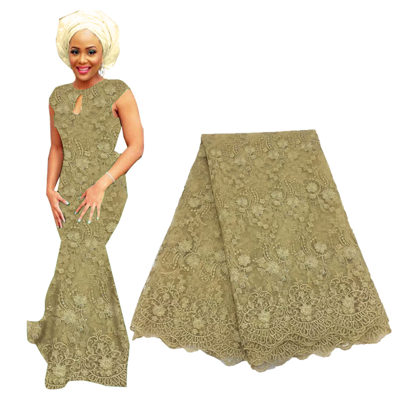 2019 Best Selling Nigerian African Tulle Lace Fabric Beaded High Quality French Net Lace Fabric For Wedding Tulle Lace Fabric