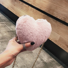 цена на New Pink Woman Bag Fashion Lady Designer Handbags High Quality Plush Heart Handbag Sweet Girl Chain Shoulder Shoulder Bag