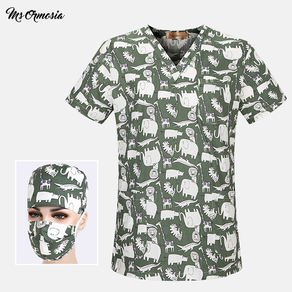 Women Medical Clothing Unisex Medical Scrubs Nurse Uniform Dentistry Pet Doctor Work Clothes Spa Uniforms Surgical Top+cap+masks