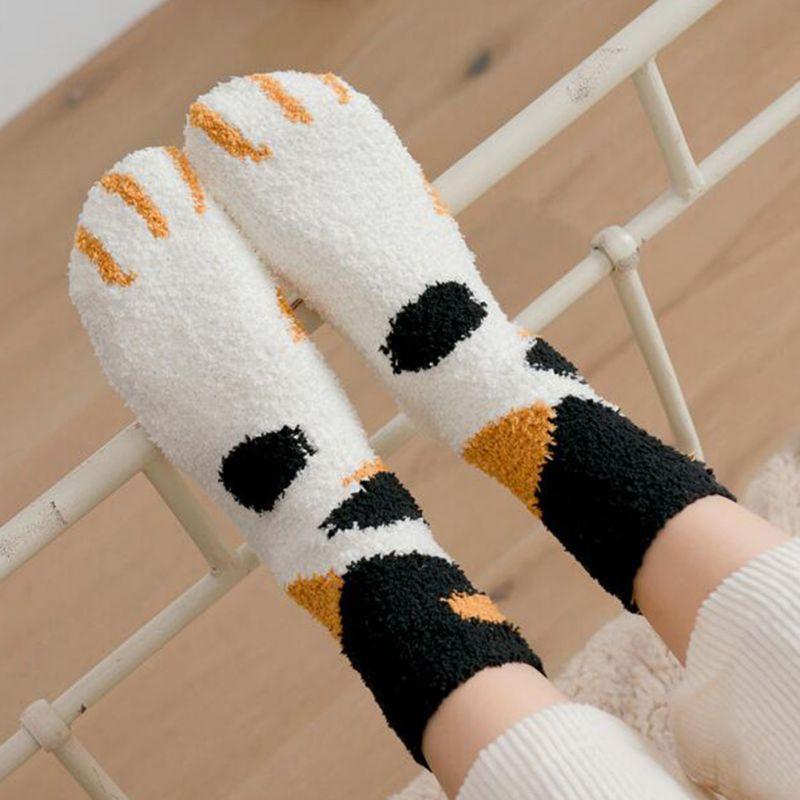 Winter Cat Claws Cute Thick Warm Sleep Floor Socks Plush Coral Fleece Socks Female Tube Socksfz