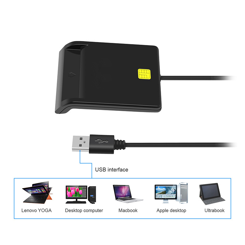 Universal Portable USB Smart Card Reader For Bank Card Tax Card ID CAC DNIE ATM IC SIM Card Reader For Android Phones Computer