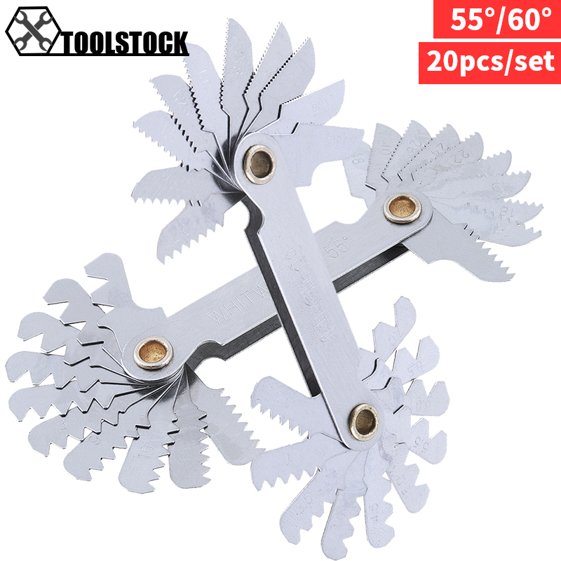 Imperial Stainless Steel Thread Gauge 20pcs/set 55/60 Degree Screw Pitch Gauge With 4-48 Blades Range For Industrial Measurement