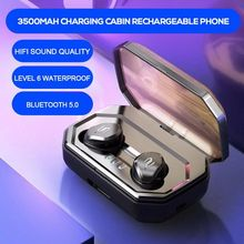 TWS Invisible Mini Earphones 6D Stereo Ipx7 Waterproof Noise Redu 5.0 Bluetooth Headset Wireless 3500mAh Charging