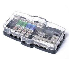 Mini sigorta tutucu 2 in 2 out güç dağıtım bloğu çok fonksiyonlu sigorta kutusu ile LED 4 yollu sigorta blok araba ses Stereo