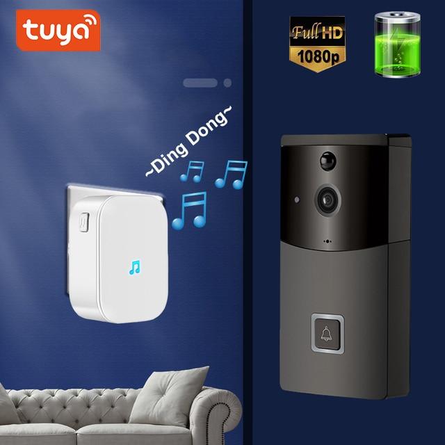 Tuya 1080P kablosuz kapı zili kamera kapı zili ile kamera wifi pil kamera sistemi halka kapı zili kablosuz video kapı zili tuya
