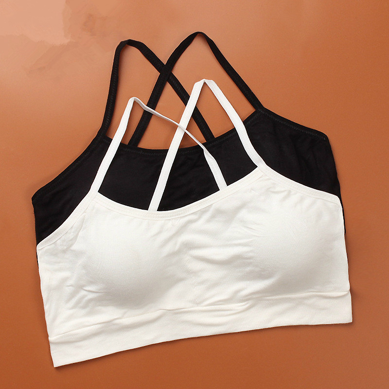 Modal A Bra For A Teenager With Removable Pad Thin Strap Bra For Small Breasts Top Vest Bra White Sport Girl Teen Cute