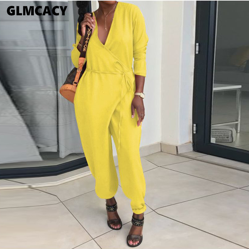 Women Long Sleeve Plunge V-neck Plus Size Jumpsuit Casual Loose Style Spring Fall Female Solid Fashion Overall