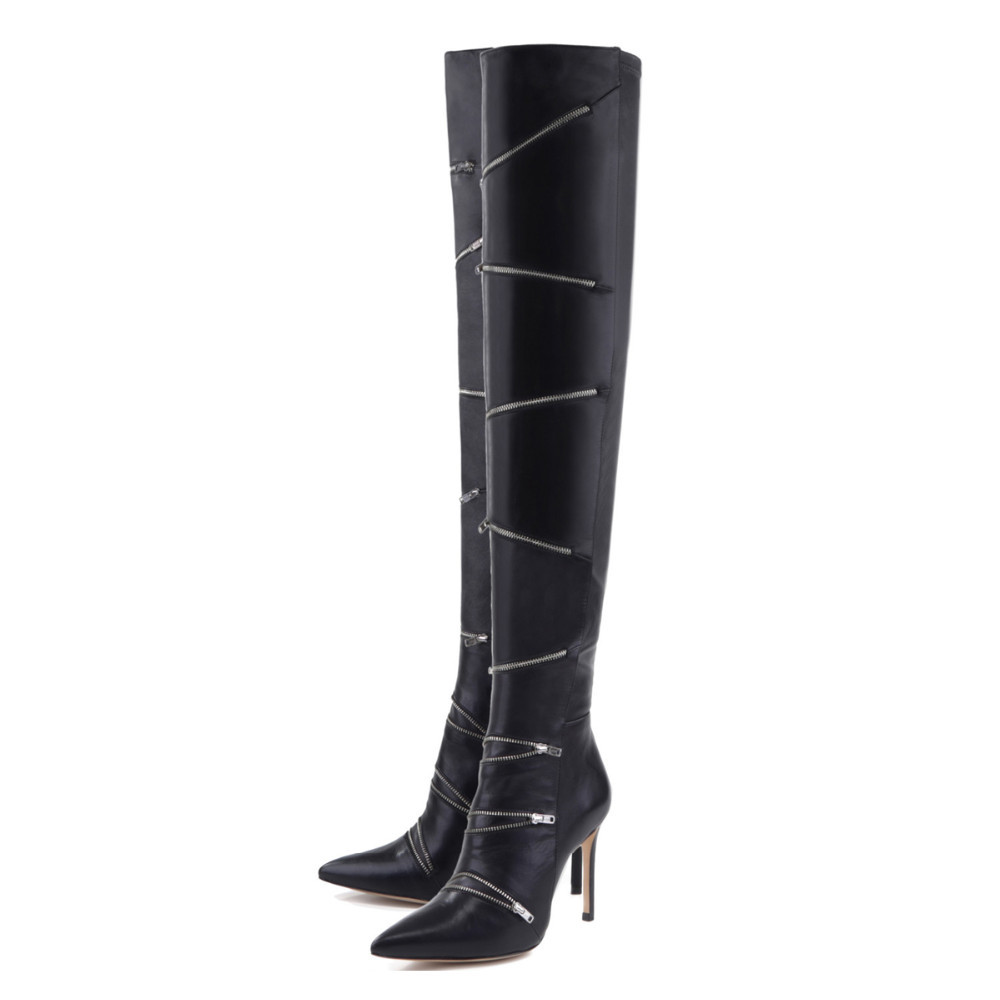 Women's Boots Zipper Decorated Black Thin Heels High Heel Pointed Over The Knee Modern Boots British Style Shoes Woman Botas De