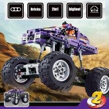 Neue 329PCS 2 In 1 Bigfoot Monster Racing Off road Fahrzeug Jeep Lkw Fit Technic Gebäude Block Ziegel kid Spielzeug Geschenk