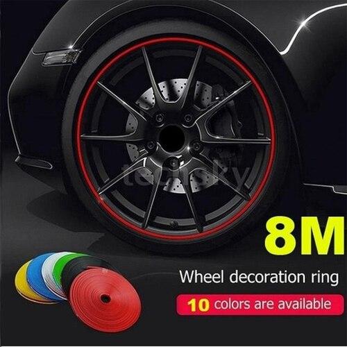 8 метров, наклейка на обод колеса автомобиля, Украшение колеса, покрытая полоской, защита, украшение шины, ремень, автомобильные аксессуары