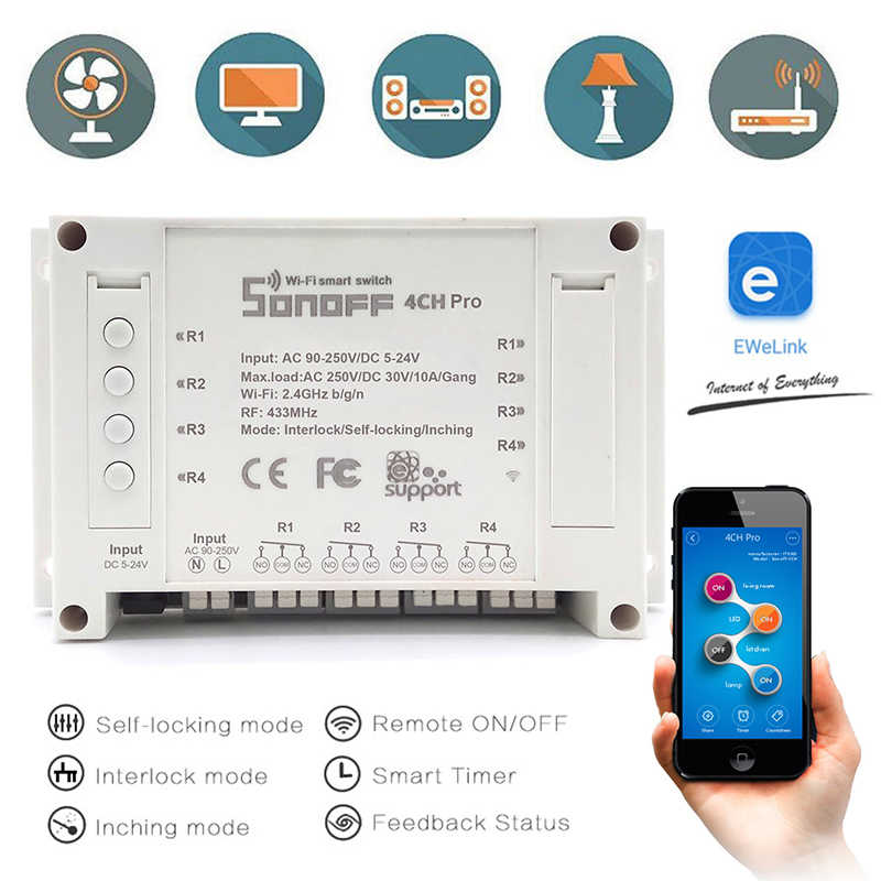 Sonoff 4ch R2 Pro Smart Switch 4 Saluran 433 MHZ 2.4G Wifi Remote Control Smart Modul Otomatisasi Rumah Relay alexa Google Home