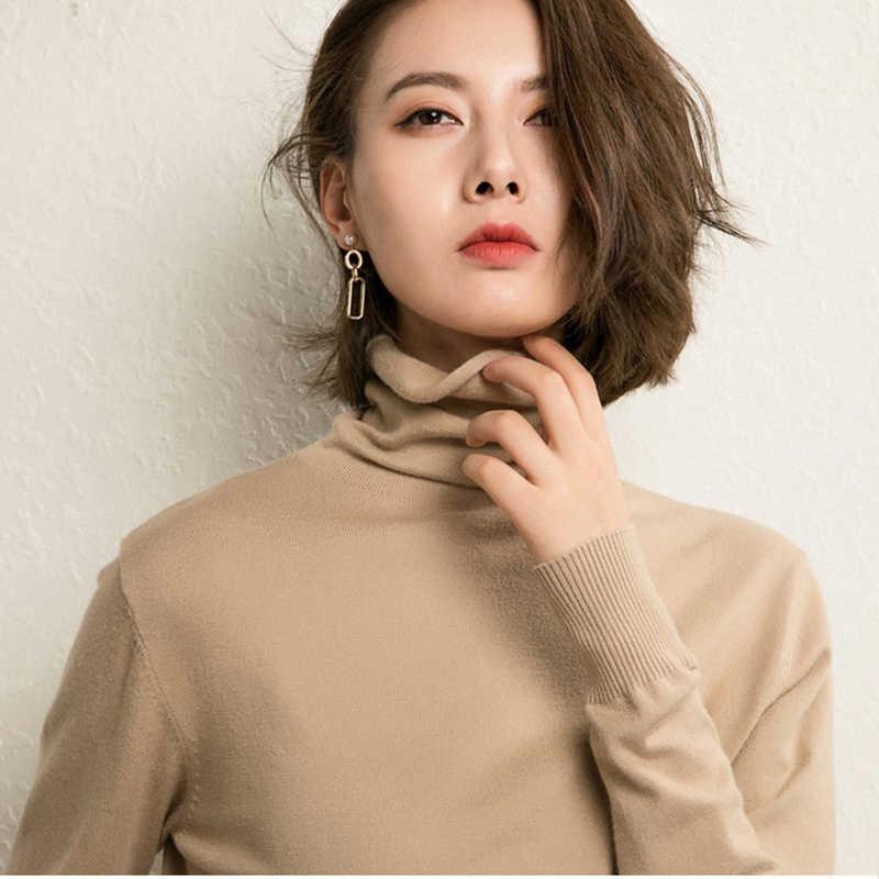 Cashmere Women sweter z golfem zima jesień Plus rozmiar ciepły sweter moda wełna różowy solid color rozciągliwe dopasowanie Korea Loose