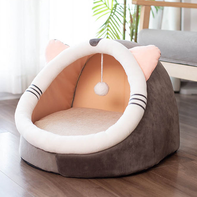 Pet Cat Bed Indoor Kitty House Cute animal Warm Small for cats Dogs Nest Collapsible Cat Cave Cute Sleeping Mats Winter Products 3
