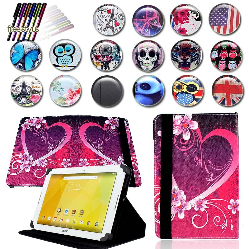 KK&LL For Acer Iconia One 10 B3-10 B3-A20 A30 A40 A40FHD A50 A50FHD - Leather Tablet Stand Folio Cover Case + Free stylus