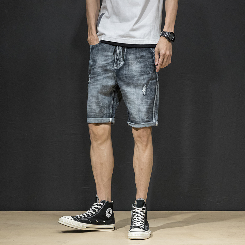 Denim Shorts Men's With Holes Beggar Loose-Fit Shorts Elasticity Shorts 5 Breeches Summer Thin Section BOY'S Pants