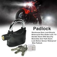 Warehouse Door Lock Waterproof Bicycle Motorcycle Disc Brake Lock 110 Decibel Alarm Motorbike Anti Theft Alarm Lock Bike Padlock