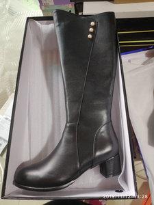 Image 2 - Salu botas de inverno botas femininas na altura do joelho botas quentes nova moda couro genuíno sapatos femininos dedo do pé redondo preto senhoras tamanho 41 42 43