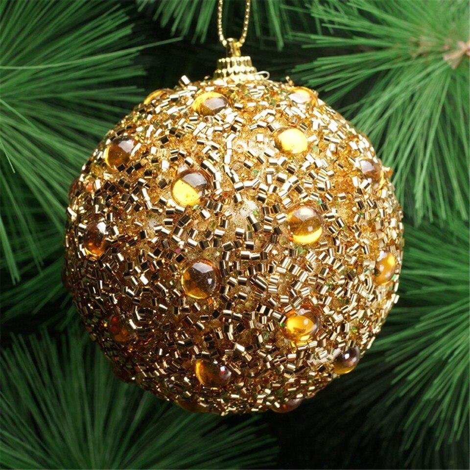 Christmas decoration pendant sticky rhinestone beads sequins high end Christmas ball gold silver Saint ornaments 8CM новый T3
