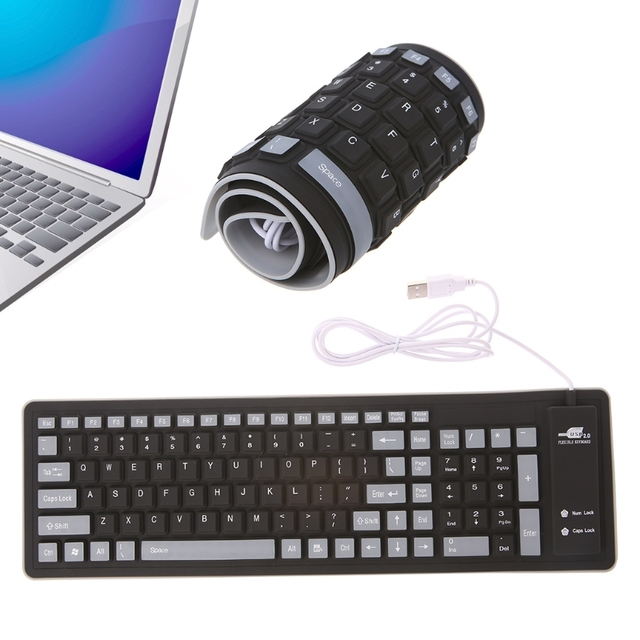 Foldable Keyboard Waterproof USB Wired Mini Keyboard 103 Keys USB 2.0 PS/2 Silicone Soft Keyboard with USB Connector