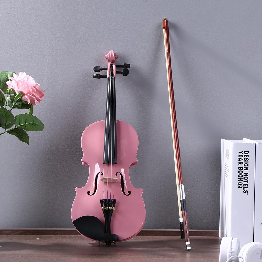 Practical Home Acoustic Violin Kits Fiddle Exerciser Basswood Body Back Side Plate Maple Head 1/8 Splint with Case Bow