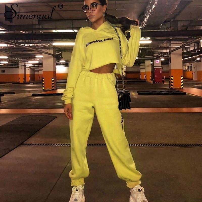 Simenual Letter Print Casual Sweat Suits Women Lounge Wear Long Sleeve Fashion 2 Pcs Oufit 2019 Autumn Hooded Pants Matching Set