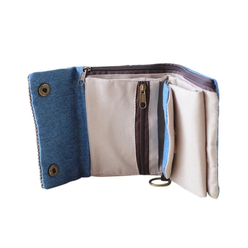Women's Short Small Wallet Lady Canvas Folding Coin Card Holder Money Purse Canvas Folding Coin Card Holder Credit Card Holder