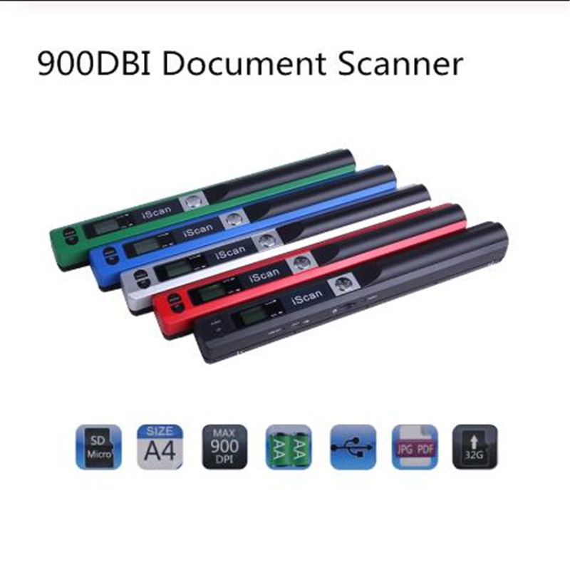 Portable Scanner Documents Mini Format Handheld New A4 DPI Jpg-Pdf 600/900 title=