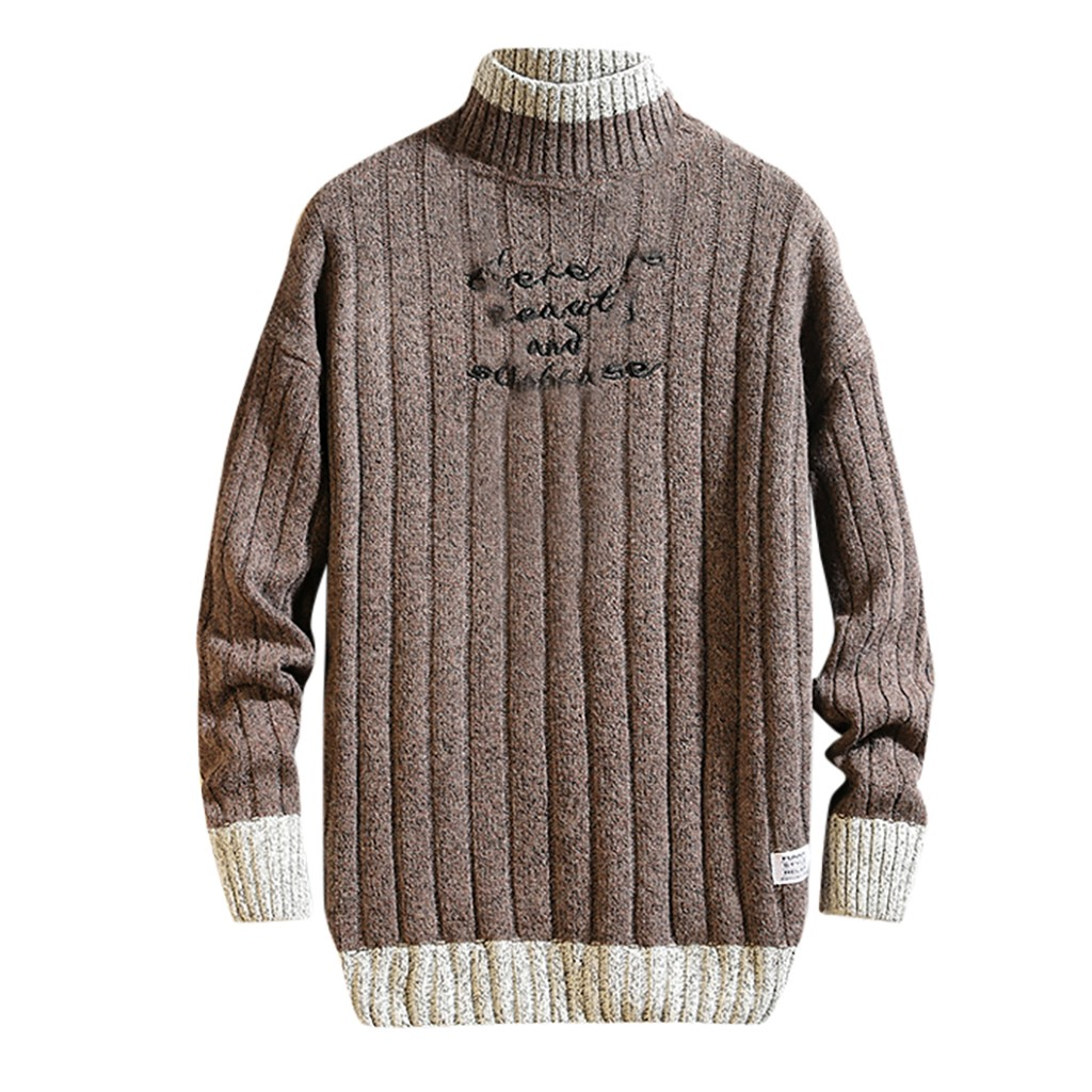 Men's Sweater Casual Fashion Printing Patchwork O-Neck Long Sleeve Knitted Sweater Autumn Winter Clothing Tops