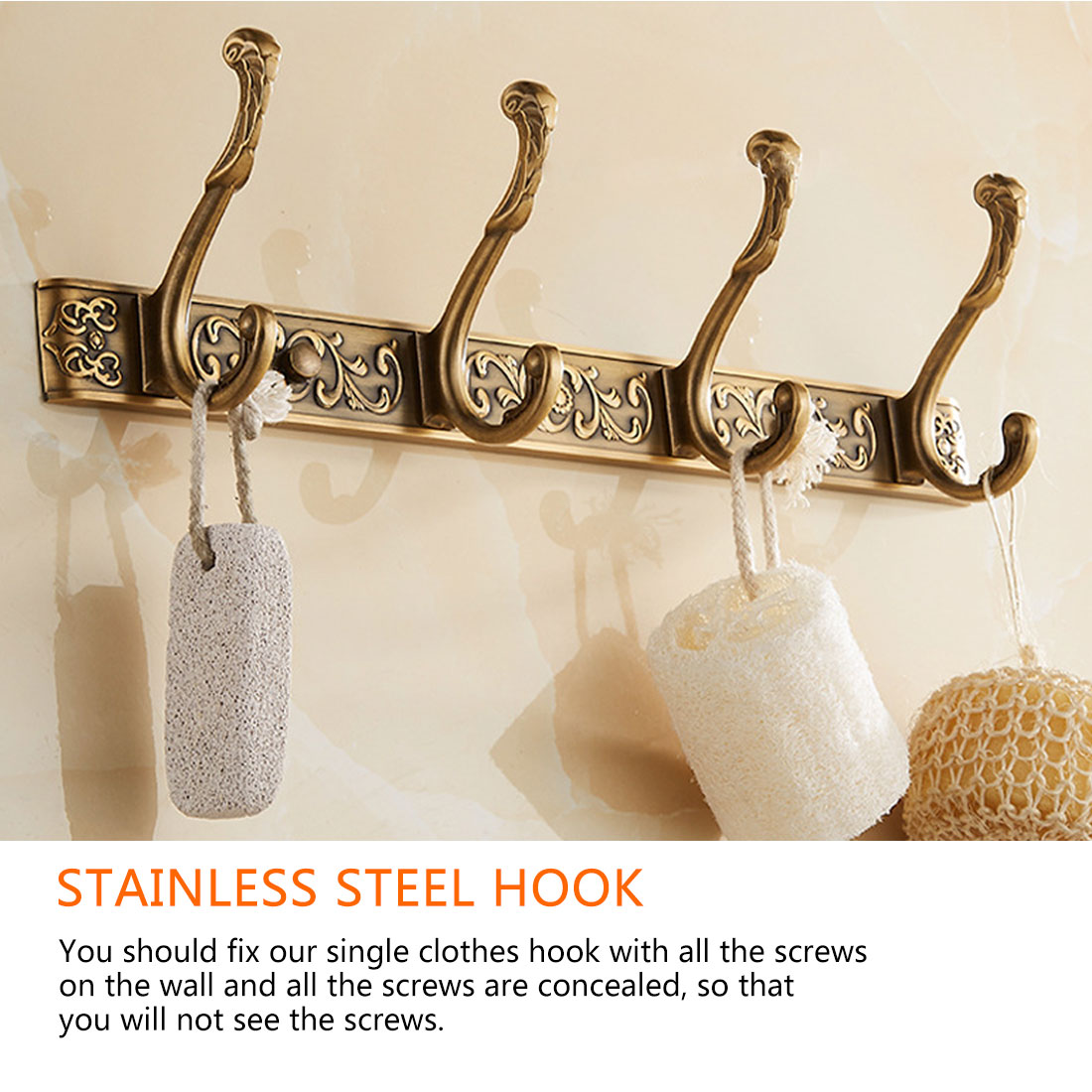 5 Row Hooks  Luxury Bathroom Wall Carving Robe Hook Coat Hanger Door Hooks For Bathroom Accessories