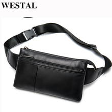 WESTAL Sheep Leather Men Waist Bag Genuine Leather Belt Bag Men Black Waist Bags for Men Fanny Pack Casual Phone Money Belt 8982