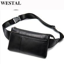 WESTALแกะหนังเอวกระเป๋ากระเป๋าเข็มขัดหนังผู้ชายสีดำเอวกระเป๋าผู้ชายFanny Packโทรศัพท์เข็มขัดเงิน 8982