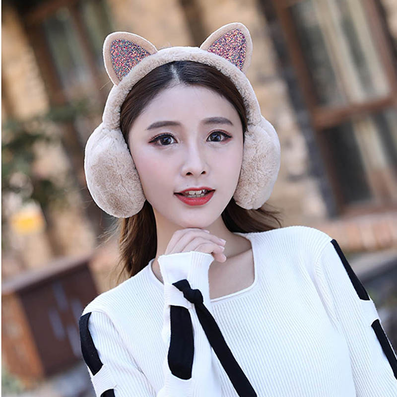 Calymel Winter Autumn Warm Faux Fur Earmuffs Cute Cat Ear Earflap Plush Earmuff For Ladies Women Hairbands Rhinestone Ear Muffs