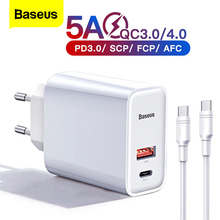 "Baseus מהיר תשלום 4.0 USB מטען עבור iPhone 11 פרו מקס Xiaomi סמסונג Huawei QC4.0 QC3.0 פ""ד מהיר קיר נייד טלפון מטען"