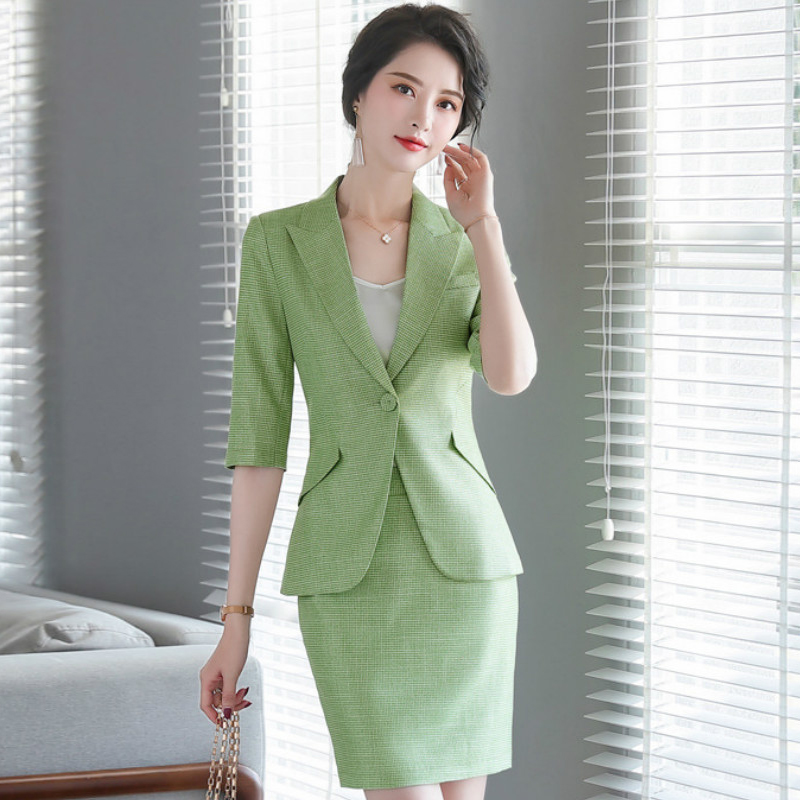 2020 Spring And Summer Casual High Quality Women's Skirt Suit Feminine Checked Business Ladies Blazer Jacket Slim Skirt 4XL