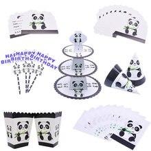 Ensemble de vaisselle jetable en forme de Panda, ballons, sac à bonbons en paille en papier, fournitures de décoration pour fête prénatale anniversaire enfants