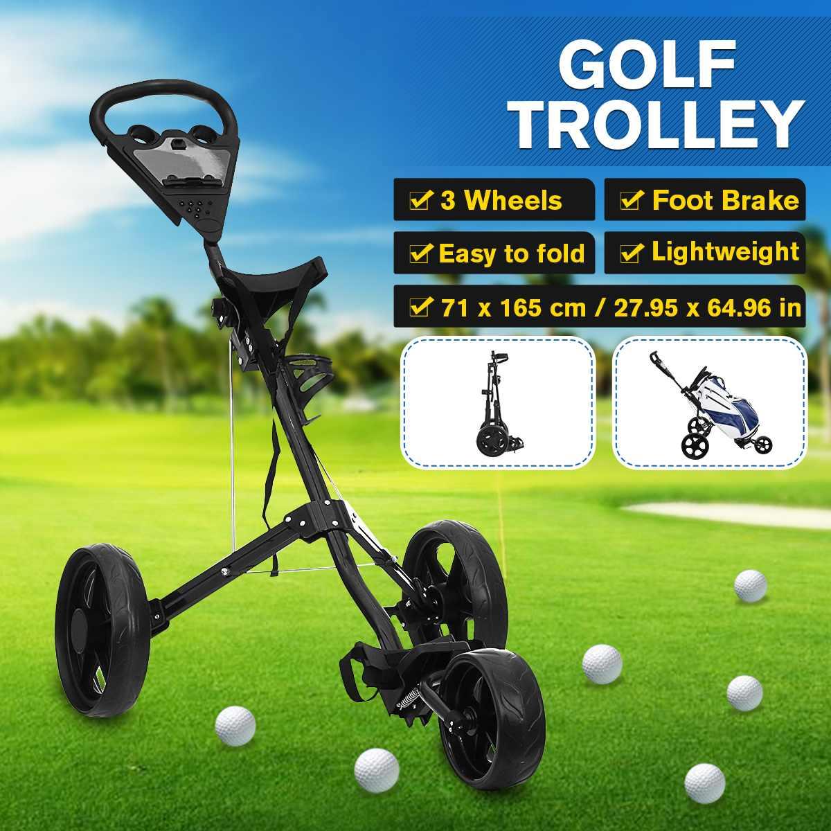 Golf Trolley Push Cart Professional Folding 3 Wheels Golf Bag Trolley Multifunctional Carrier Scorecard Cup Holder Foot Brake