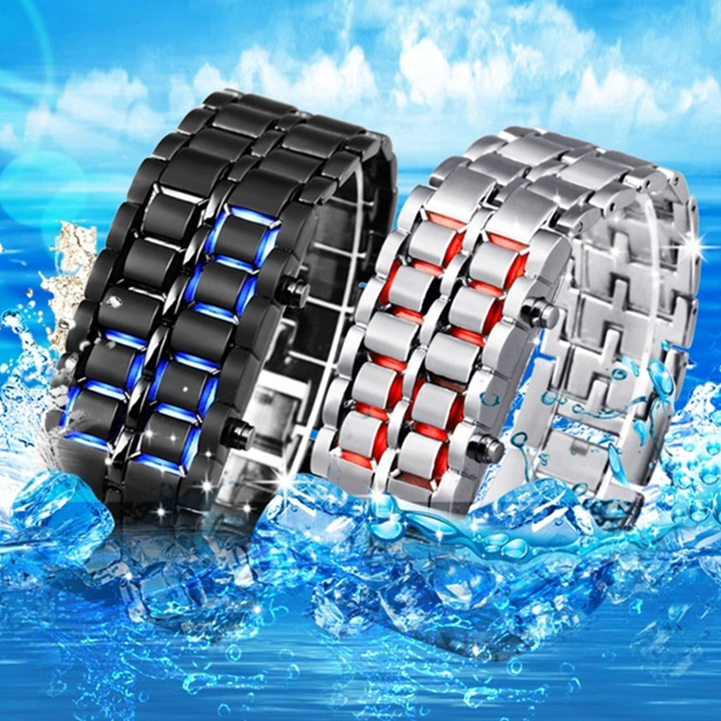 Men Sports Watches Men Led Digital Watches Lava Iron Samurai Men's Watches Stainless Steel Band Electronic Watches Reloj Hombre