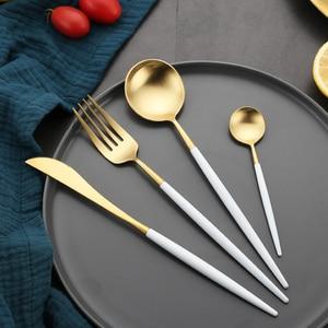 Image 2 - Juego de cubiertos de oro blanco, vajilla occidental de acero inoxidable 18/10, juego de cuchara, tenedor y cuchillo para el hogar, vajilla de palillos
