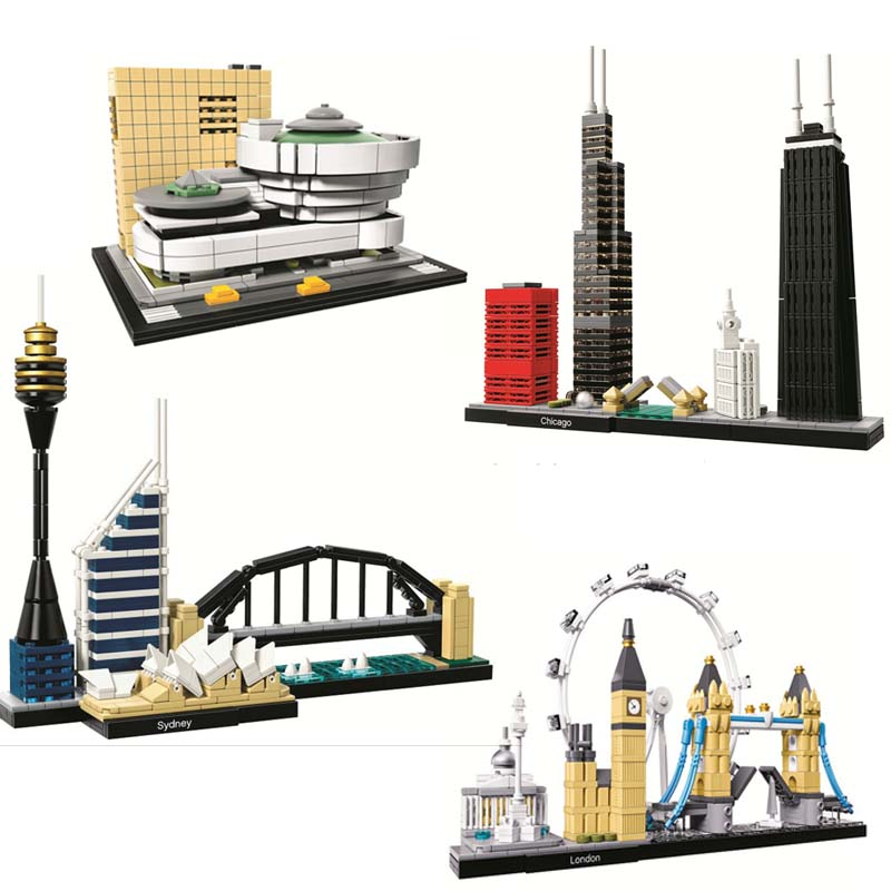 10678 Architecture Building Set London 21034 Big Ben Tower Bridge Model Building Block Bricks Toys Lepining gifts(China)